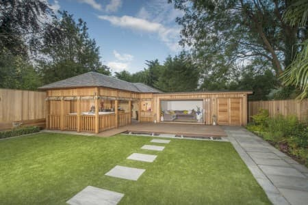 Large handcrafted contemporary garden room, providing a family with more space