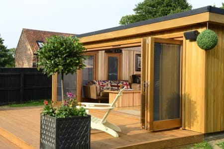 Handcrafted redwood garden room