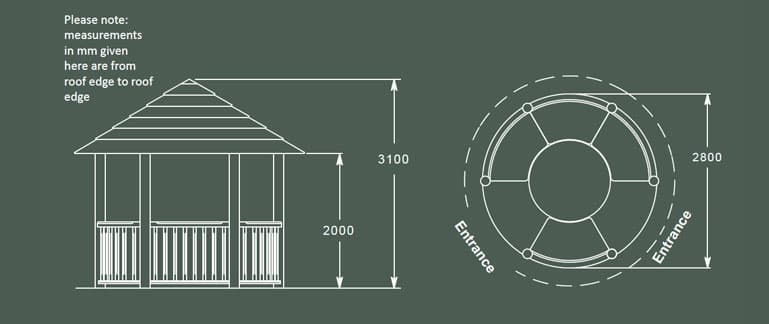 Elizabeth Luxury Wooden Gazebo Product Specification