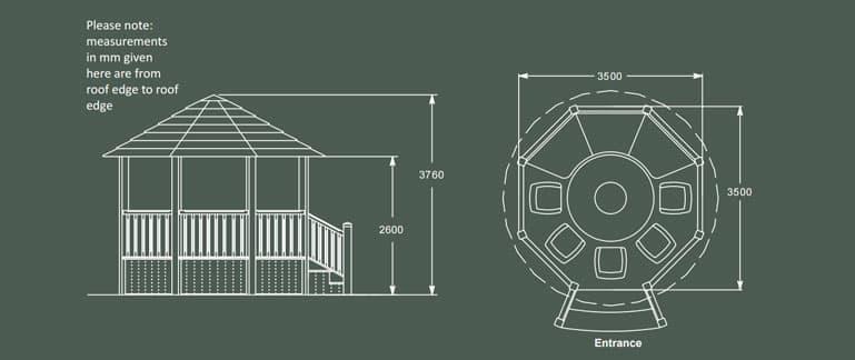 Wentworth Luxury Wooden Gazebo Product Specification