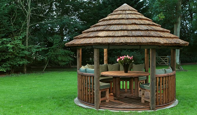 Edward luxury wooden gazebo outdoor garden pavilion for Garden hut sale