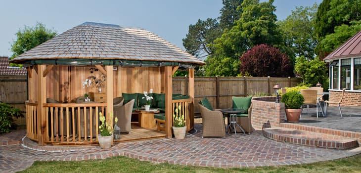 Windsor Luxury Wooden Garden Gazebo Large Garden Buildings : windsor detail from www.crownpavilions.com size 730 x 350 jpeg 96kB