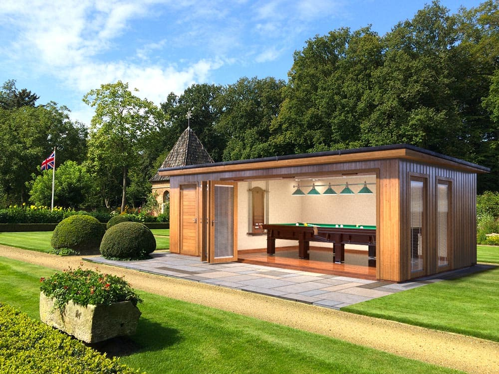 6.  3D IMAGE   7.3M X 4.2M (external dimension - garden room with attached shed - garden room on right side with shed on left side) OPTION A