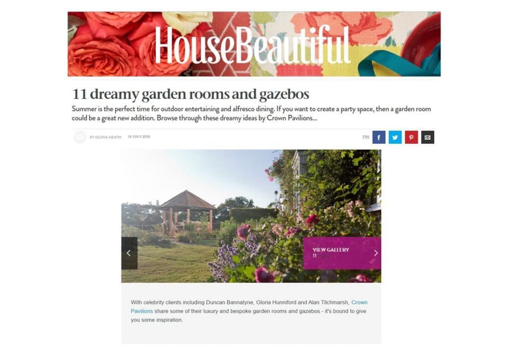 Crown Pavilions Feature in House Beautiful