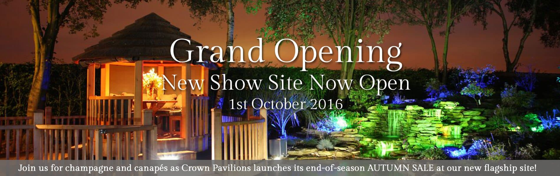 Join Crown Pavilions for the launch of the Autumn sale at our new show site