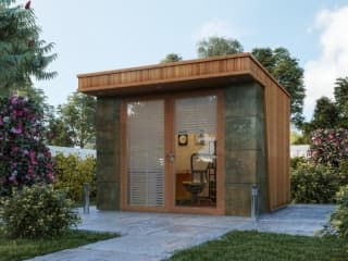 Small Clarence Garden Office with Natural Stone Feature Wall