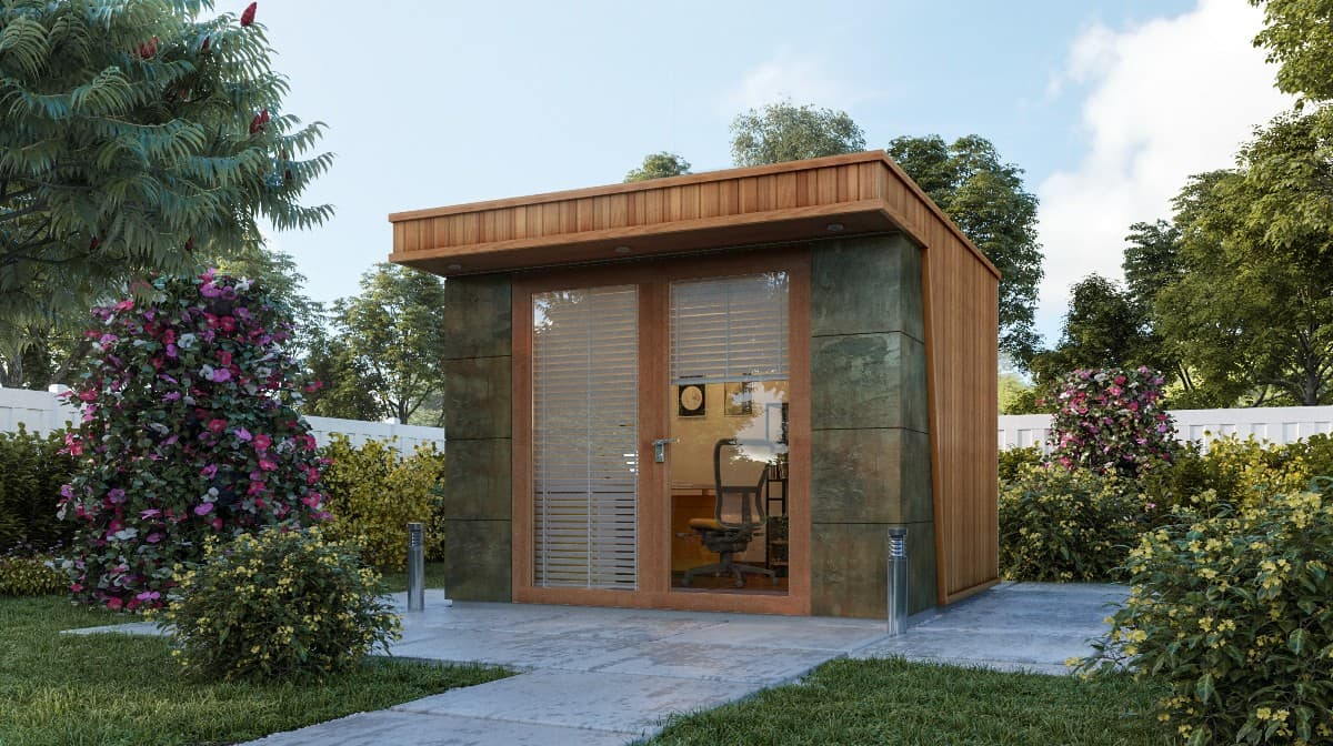 Clarence Garden Office with Natural Stone Feature Wall